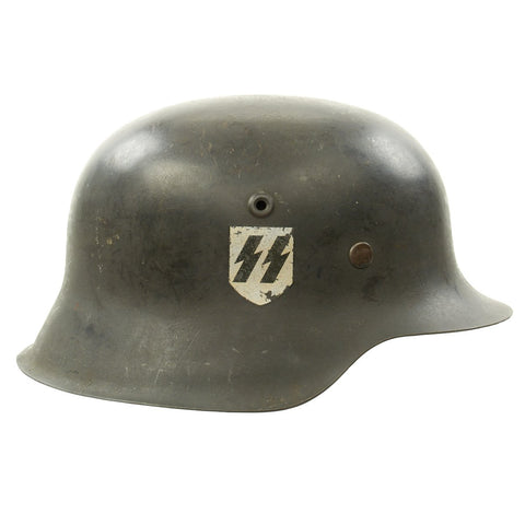 Original German WWII M42 Helmet with Complete Liner Marked NS66 with Replica SS Decal Original Items