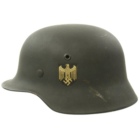 Original German WWII Army Heer M40 Single Decal Helmet with Liner in Excellent Condition - ET64 Original Items