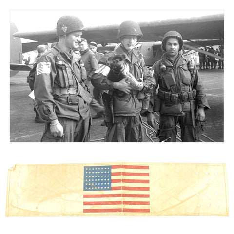 Original U.S. WWII Paratrooper D-Day Invasion American Flag Oilcloth Armband Original Items