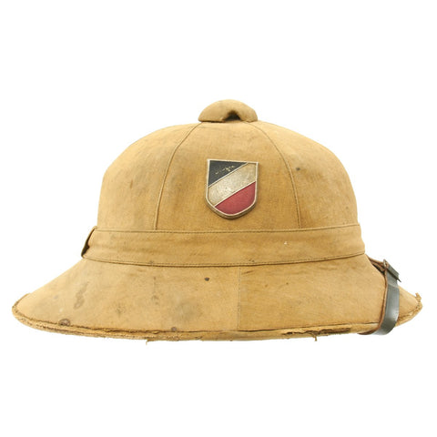 Original German WWII First Model DAK Afrikakorps Sun Helmet with Badges and Maker Marking - Size 57 Original Items
