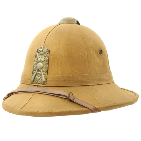 Original Italian WWII North African Campaign M1928 Tropical Sun Pith Helmet with Plate Original Items