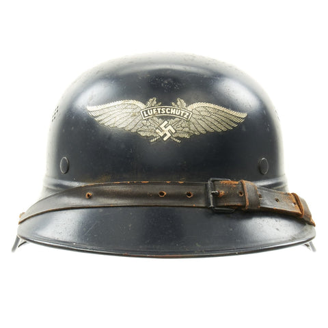 Original German WWII M38 Luftschutz Gladiator Air Defense Helmet - marked and dated 1940 Original Items