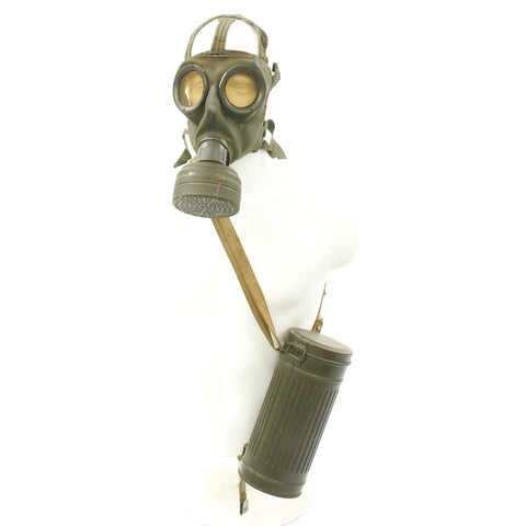 Original German WWII Named M30 1st Model Gas Mask with Filter and Can - Dated 1937 / 38 / 40 Original Items