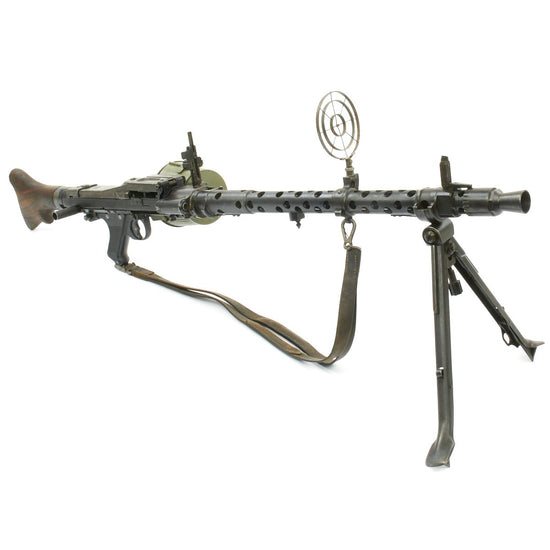 Original German WWII MG 34 dot 1943 Display Machine Gun with A.A. Sight, Original Sling, and Basket Carrier