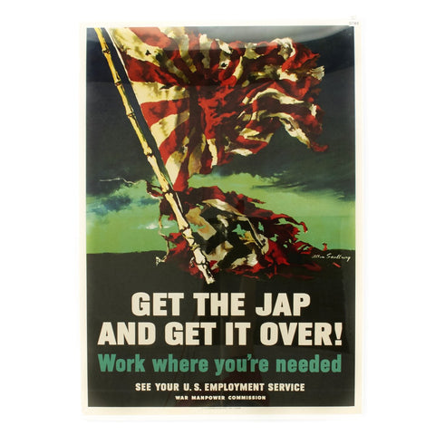Original U.S. WWII Propaganda Poster Get the Jap and Get It Over! - 28 x 20 Original Items