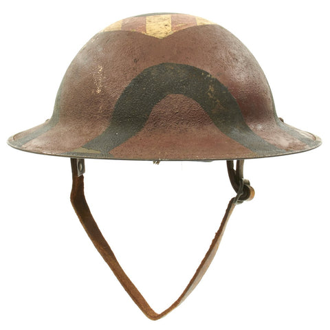 Original U.S. WWI M1917 7th Infantry Division Doughboy Helmet with Camouflage Paint - Hourglass Division Original Items