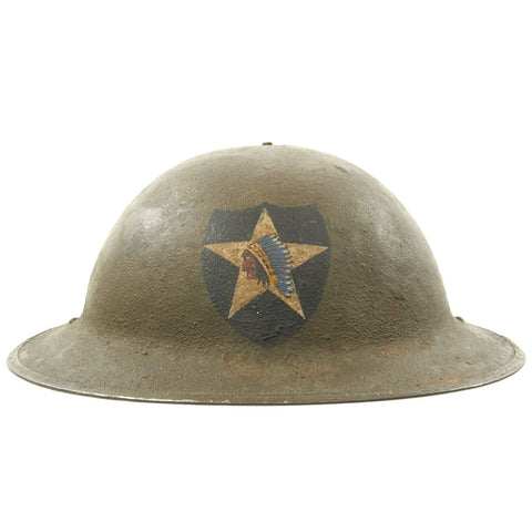 Original U.S. WWI M1917 2nd Infantry Division Doughboy Helmet with Textured Paint - Indianhead Division Original Items