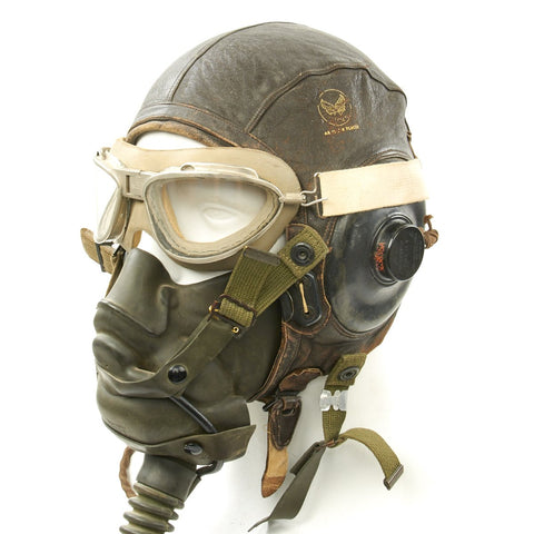 Original U.S. WWII Army Air Force Aviator Flight Helmet Set - AN6530 Goggles, A-14 Mask, A-11 Helmet Original Items