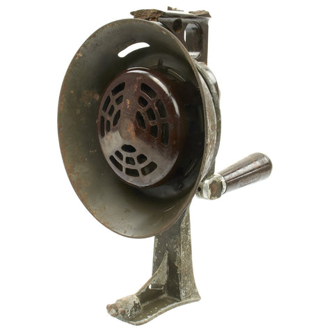 Original German WWII Bakelite Hand-Crank Air Raid Siren by Mende - Handsirene Original Items