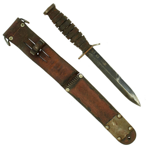 Original U.S. WWII Early Blade Marked M3 Fighting Knife by Kinfolks Inc. with M6 Leather Scabbard Original Items