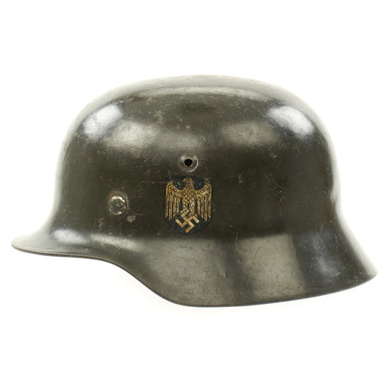 Original German WWII Army Heer M35 Double Decal Steel Helmet with Size 56 Liner - EF64