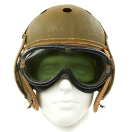 Original U.S. WWII M38 Tanker Helmet by Rawlings with M-1944 Polaroid Goggles - Size 7 1/8