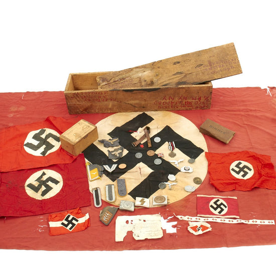 Original U.S. WWII Named Bring Back Set in Box with Certificate - German Flags, Armbands, Insignia, Belt Buckles