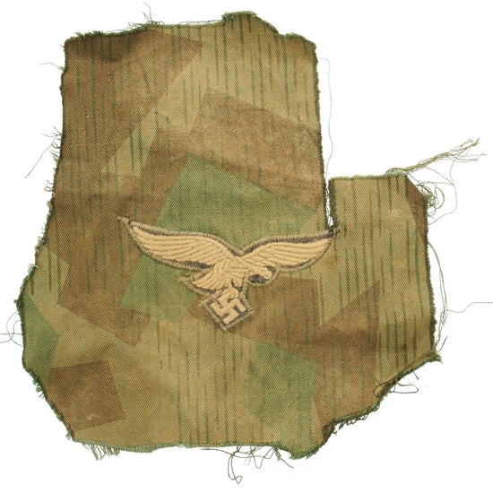 Original German WWII Model 42 3rd Pattern Splinter Tarn Camouflage Luftwaffe Eagle Insignia Cut Off