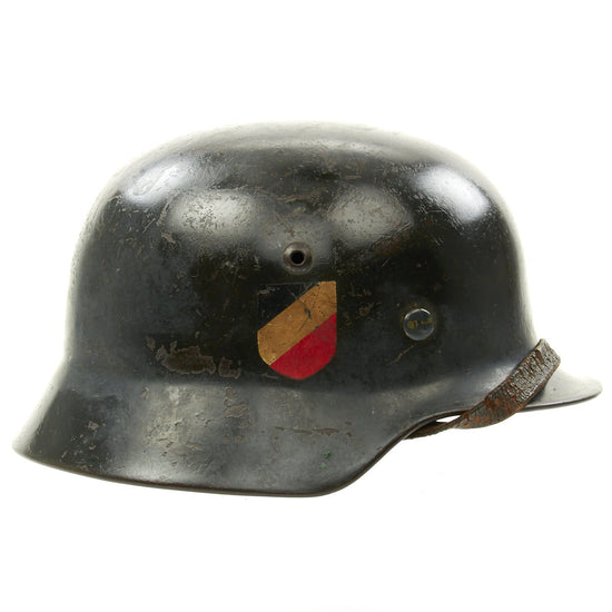 Original German WWII Luftwaffe M35 Double Decal Helmet - Marked SE64