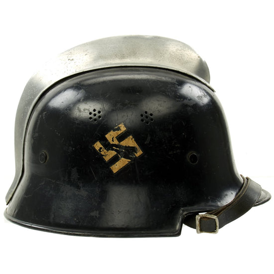 Original German Pre-WWII M34 Square Dip Early Style Fire Police Helmet with Double Decals - Size 56
