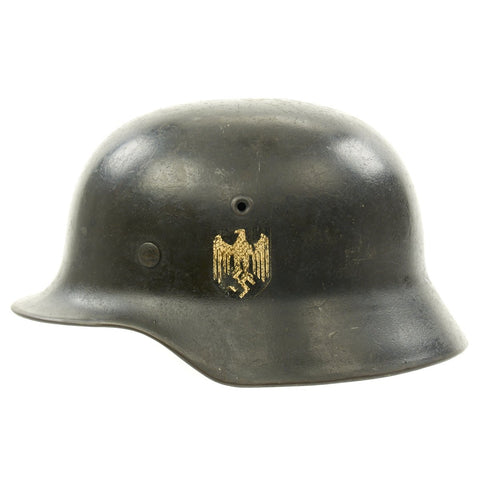 Original German WWII Army Heer M40 Single Decal Helmet with Liner - Marked NS64