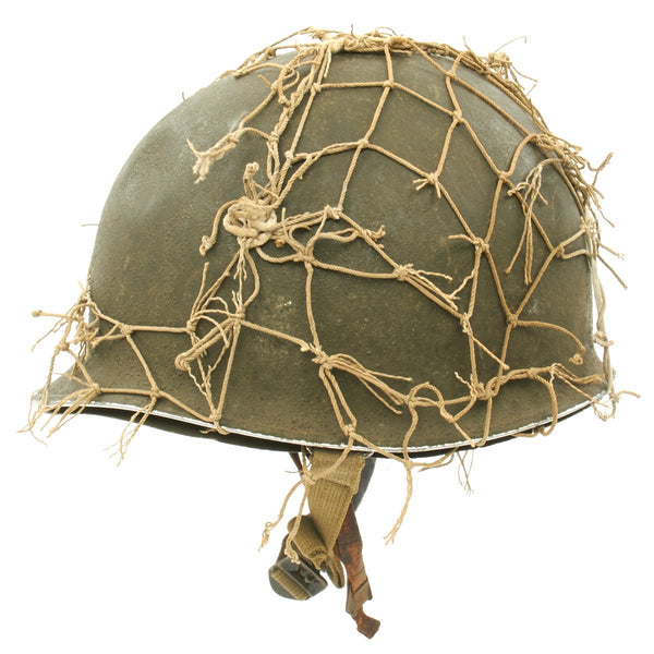 Original U S  WWII 1942 M1 McCord Fixed Bale Front Seam Helmet with St   Clair Liner and Net