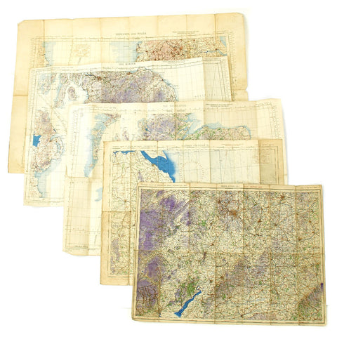 Original British WWII RAF Edition War Maps of England - Set of 5