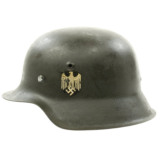 Original German WWII M42 Single Decal Army Heer Helmet with Dome Stamp and Liner - hkp62