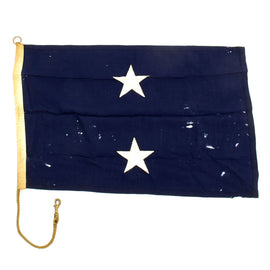 "Original U.S. WWII Era U.S. Navy Rear Admiral Two-Star Wool Rank Flag - 36"" x 24"""