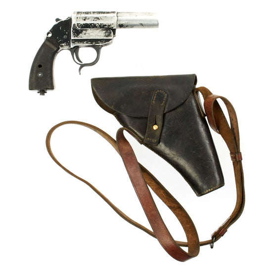 Original German WWII Leuchtpistole 34 Heer Signal Flare Pistol by Walther in British Holster - Dated 1942