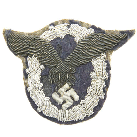 Original German WWII Luftwaffe Officer's Silver and Aluminum Bullion Embroidered Pilot Badge