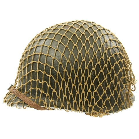 Original U.S. WWII 1943 M1 McCord Front Seam Fixed Bale Helmet with Westinghouse Liner and Net