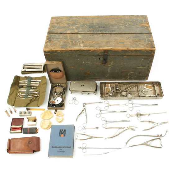 Original German WWII Named Doctor Medical Surgical Set in Wood Chest