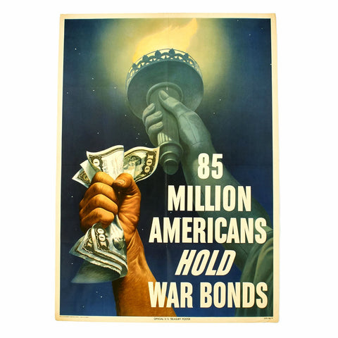 Original U.S. WWII 85 Million Americans Hold War Bonds Poster Original Items