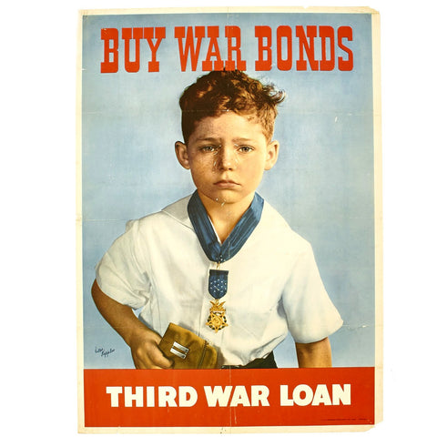 Original U.S. WWII Buy War Bonds - Third War Loan Poster - Boy with Father's Medal of Honor Original Items