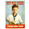 show larger image of product view 1 : Original U.S. WWII Buy War Bonds - Third War Loan Poster - Boy with Father's Medal of Honor Original Items