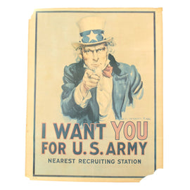 Original U.S. WWII Uncle Sam Recruitment Poster - I WANT YOU FOR THE U.S. ARMY