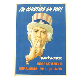 Original U.S. WWII Uncle Sam Security Poster - I'm Counting On You! Don't Discuss - OWI Poster No. 78