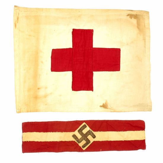 Original German WWII Field Used Hitler Youth Member Armband with Small Medic Flag - Hitlerjugend