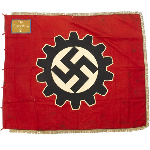 Original German WWII German DAF Labor Front USGI Signed Fringed Flag - Deutsche Arbeitsfront - 46 x 56