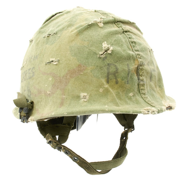 Original U S  WWII Vietnam War M1 Paratrooper Helmet with USMC Reversible  Camouflage Cover