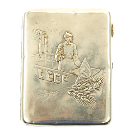 Original Soviet WWII Russian Red Army Silvered Cigarette Case