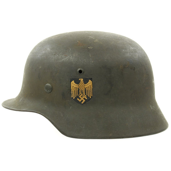 Original German WWII Excellent Condition Army Heer M35 Single Decal Helmet with 56cm Liner - ET64