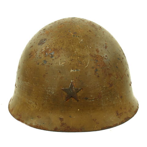 Original Japanese WWII Type 92 Army Combat Helmet with Liner and Chinstrap dated 1940 - Tetsubo Original Items