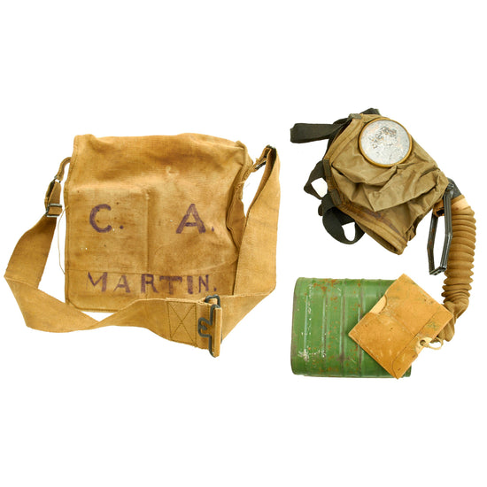 Original U.S. WWI Named M1917 SBR Gas Mask with Carry Bag and Instruction Manual Original Items