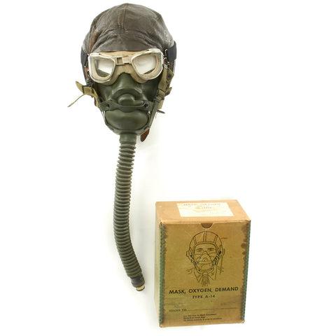 Original U.S. WWII Army Air Force Aviator Flight Helmet Set - AN6530 Goggles, A-14 Mask, A-11 Helmet