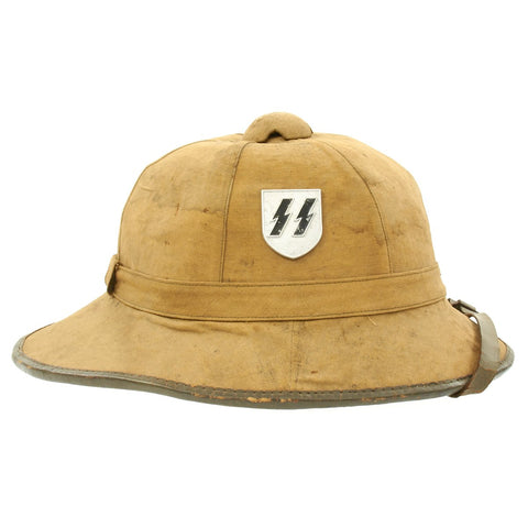 Original German WWII First Model DAK Afrikakorps Sun Helmet with Reproduction SS Badges