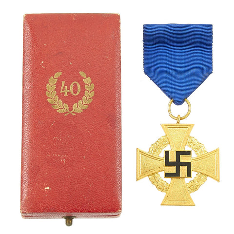 Original German WWII 1st Class 40 Year Civil Service Faithful Service Medal in Case by Deschler & Sohn Original Items