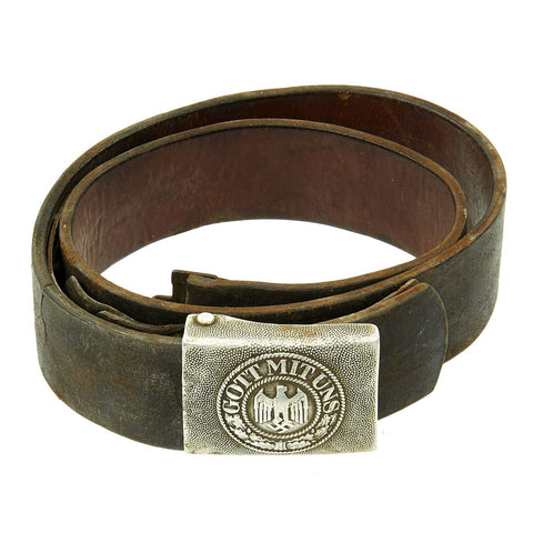 Original German WWII Wehrmacht Army Heer Belt with Pebbled Aluminum Buckle Original Items