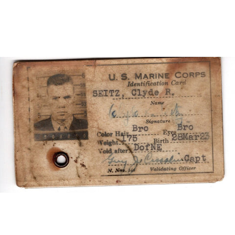 Original U.S. WWII USMC Marine Corps Battle of Iwo Jima Identification Card Original Items