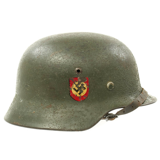 Original German WWII M35 Double Decal Police Combat Helmet - Stamped ET66