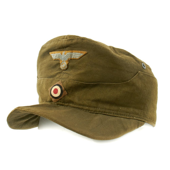 Original German WWII Model 43 Afrika Korps Tropical Field Cap - Tropeneinheitsfeldmütze M43