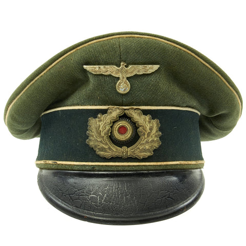 Original German WWII Army Heer Officer Simulated Crusher Visor Cap Original Items