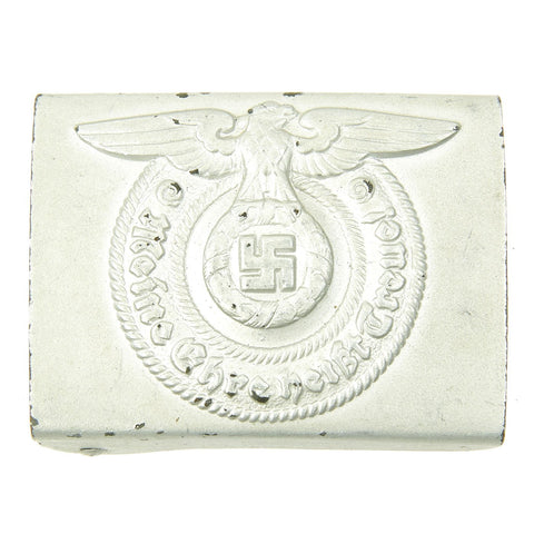 Original German WWII Steel SS EM/NCO Repainted Belt Buckle by Overhoff - Schutzstaffel Original Items